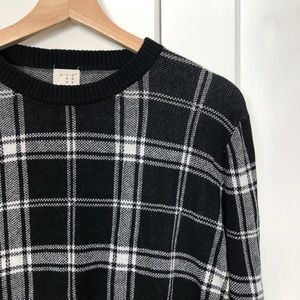 Sweaters - Black and White Plaid Sweater
